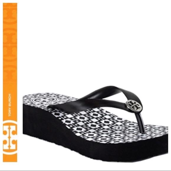 fc588b8f585e 💕SALE💕 Tory Burch Black Wedge Flip Flops. M 5b4251ad5c44524f91eff966